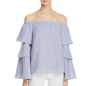 Milan Chambray Off-The-Shoulder Bell Sleeve Top